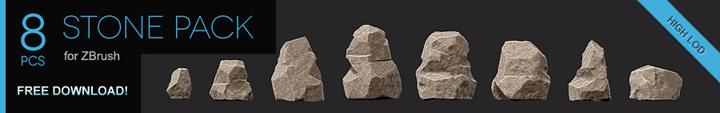 Stone Pack – 8 Free ZBrush Models